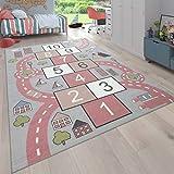 Paco Home Alfombra Infantil Habitación Infantil, Alfombra Juego Carreteras, Rayuela, Rosa, tamaño:140x200 cm