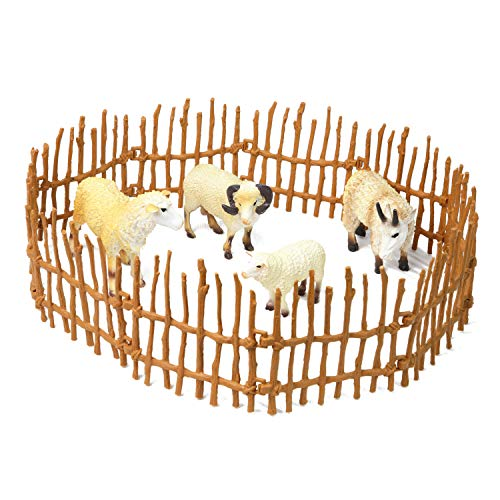 Farm Animal Figurines 4 Pieces Sheep Family Playset of Small Realistic Plastic Assorted for Preschool Toddlers and Kids