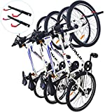 Qualward Bike Wall Mount Storage Rack for Garage, Bicycle Hangers, Hanging 4 Bicycles, 2 Pack