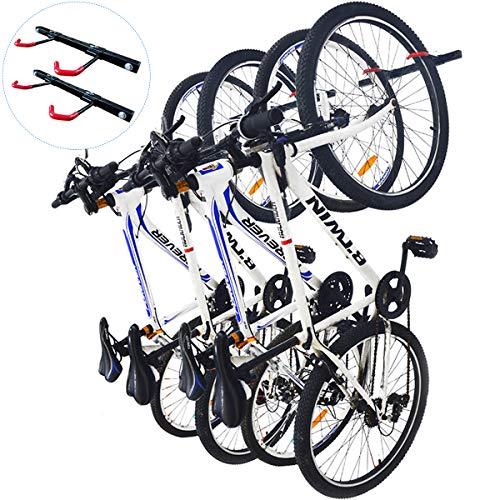 Qualward Bike Wall Mount Storage Rack for Garage, Bicycle Hangers - Hanging 4 Bicycles, 2 Pack