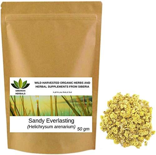Sand-Strohblume (Helichrysum arenarium) Sandy Everlasting Flowers/Sandy Immortelle Бессмертник песчаный Wild geerntete Bio-Kräuter aus Sibirien, Russland. (50 gramm)