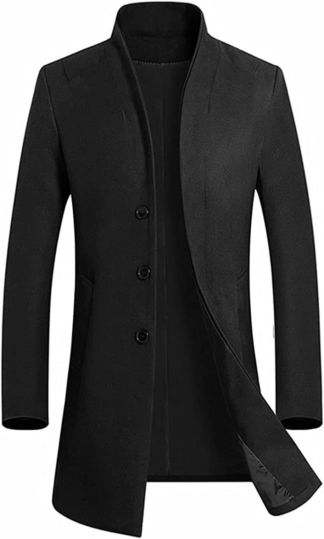 Men's Casual Long Wool Blends Trench Coat / Male Solid Color Thick Business Windbreaker Jacket Black XL