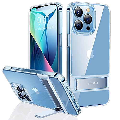 TORRAS MoonClimber Compatible for iPhone 13 Pro Max Case, [6X Military Armor-Level Shockproof][3 Stand Way] Slim Hard Kickstand Protective Compatible for iPhone 13 Pro Max Phone Case, Clear