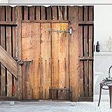ABAKUHAUS Rustikal Duschvorhang, Datierte Türscheune Haus, Pflegeleichter Stoff mit 12 Haken Wasserdicht Farbfest Bakterie Resistent, 175 x 180 cm, Schokolade