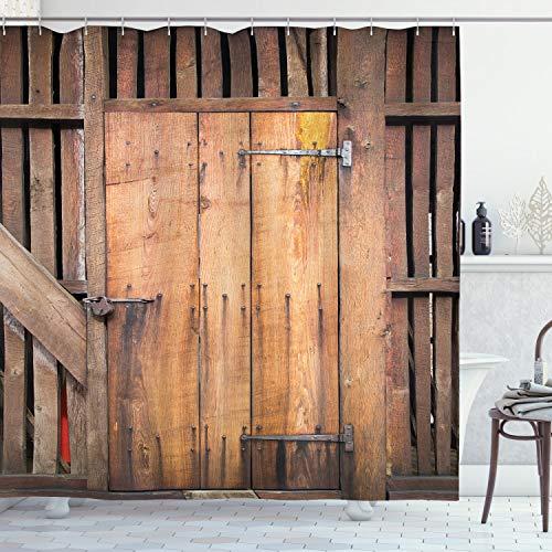 ABAKUHAUS Rústico Cortina de Baño, Fechado en la Puerta de Granero Casa, Material Resistente al Agua Durable Estampa Digital, 175 x 220 cm, Chocolate