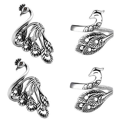 Yaomiao 4 Stück Verstellbare Strick Schlaufen Ring Häkel Schlaufenringe Garnführung Fingerhalter Geflochtener Häkelring für DIY Handgefertigte Strick Werkzeuge, 2 Arten