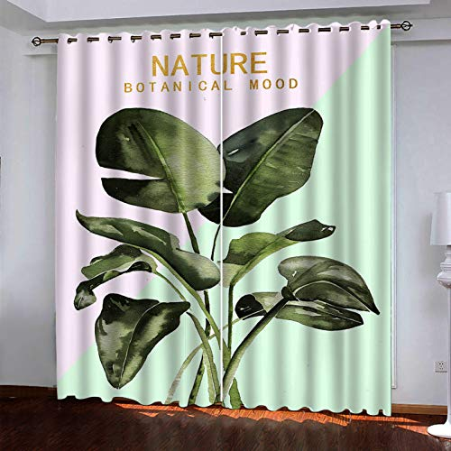 MMHJS Nordic 3D Digital Vegetation Printing Curtains, Polyester Waterproof And Durable Curtains, Blackout Vertical Curtains For Bedroom And Living Room (2 Pieces)