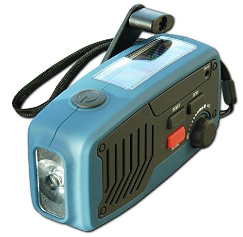 Powerplus Panther - Radio portátil (dinamo, cargador solar, linterna y cargador de...