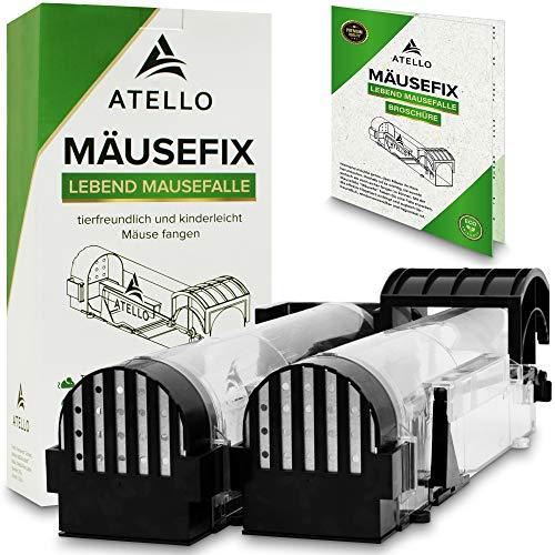 Atello® Mäusefix - Mausefalle Lebend [2er Set] - sehr zuverlässiger Auslösemechanismus - Lebendfalle mit extra vielen Löchern inkl. Broschüre