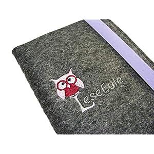 aufklappbare eBook Reader eReader Hülle LeseEule inkl. Stickerei Wollfilz Filz, Maßanfertigung, z.B. für Tolino Vision…