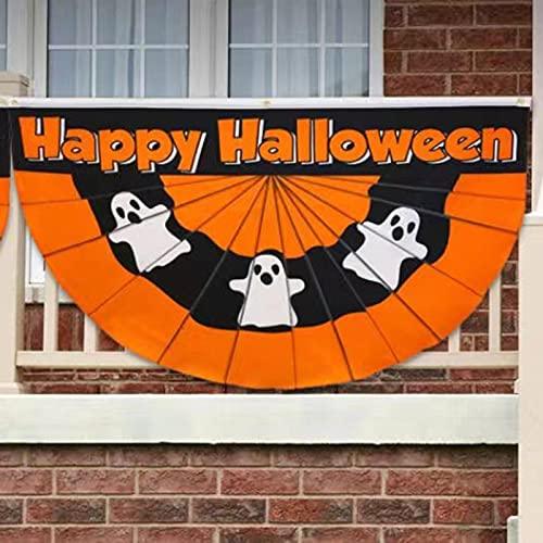 sfadf Bandera de Halloween con forma de abanico, banderas de exterior, pancartas de Halloween, de poliéster, resistente a los rayos UV, muy adecuada para colgar en el interior o como mástil estándar.