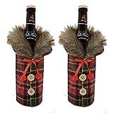 2個のクリスマスセーターワインボトルカバー、毛皮の襟ボタンコートデザイン装飾クリスマスギフトのためにかわいいクリスマスパーティーの装飾