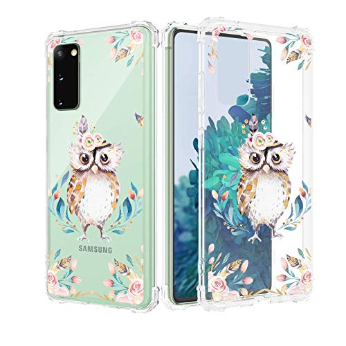 Caka Case for Samsung Galaxy S20 FE 5G Clear with Design for Girls Women, Flowers Clear Floral Pattern Girly Soft TPU Transparent Protective Case for Samsung Galaxy S20 FE 5G (Owl)