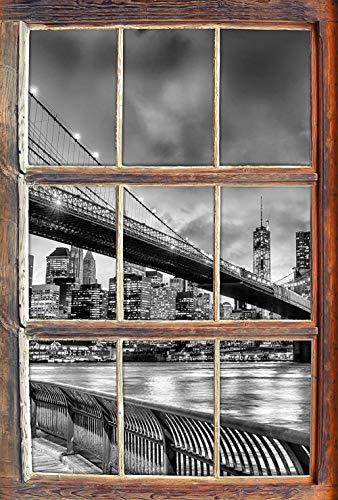 KAIASH 3D Pegatinas de Pared Monocromo Brooklyn Bridge Park York Ventana en 3D Etiqueta de la Pared o Etiqueta de la Puerta Etiqueta de la Pared decoración de la Pared 92x62cm