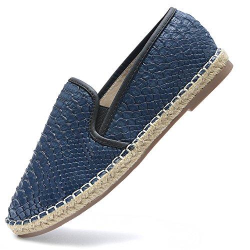 Vain Secrets Damen Sommer Sommer Schuhe Espadrilles geflochtene Ballerina Slipper in Schwarz oder Blau (37, Blau)