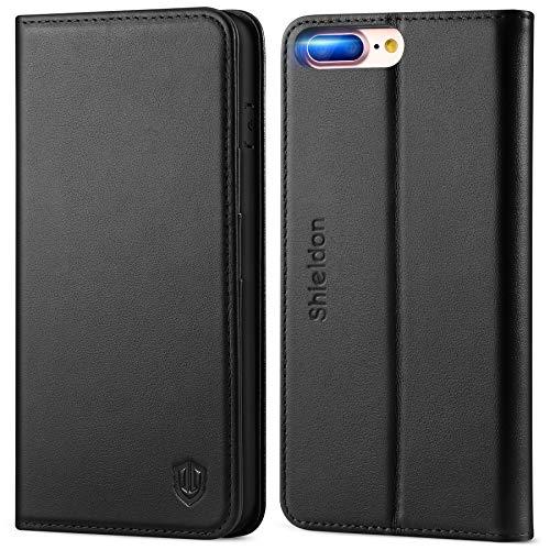 SHIELDON iPhone 8 Plus Hülle, Stoßfeste Handyhülle [Verdicktes TPU] [Erstklassiges Rindsleder] [Kartenfach] [Magnetverschluss] [Standfunktion], Schutzhülle Kompatibel für iPhone 7/8 Plus (5,5) Schwarz