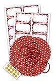Marmeladendeckchen-Set inklusive 10 rot-weiß gepunktete Vliesdeckchen 135 mm, 10 Schlaufen, 10 Doppelklebepunkten und 20 Etiketten mit Rüschen