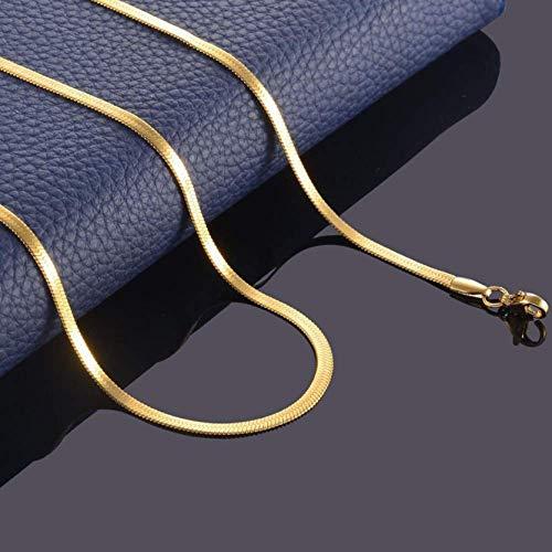 LHX Charm Punk Edelstahl Flache Halskette Gold Silber Schwarz Rose Wasserdicht Film Schlangenkette Männer Und Frauen Geschenk Schmuck, Schwarz, 60 cm