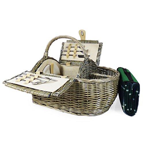 Luxus Picknickkorb 2 Personen & Zubehör - Boot Style Collection, inkl. Qualität Grün Tartan Picknickdecke - Geschenk Ideen für Vatertag, Valentinstag, Muttertag, Geburtstag