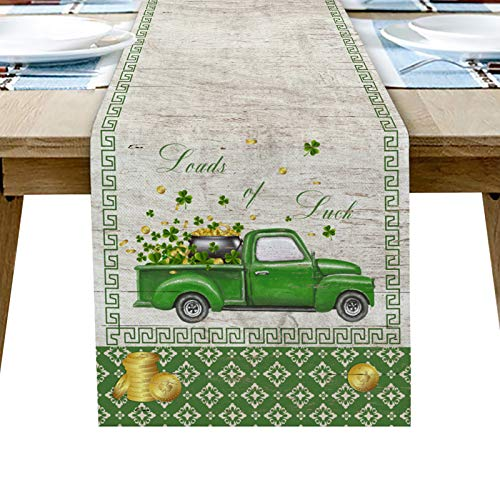 St. Patrick's Day Linen Cotton Table Runner Dresser Scarves, Rustic Truck with Golden Coin and Lucky Clovers Rectangle Tablecloths for Farmhouse Kitchen Dining Wedding Picnic Party Irish Festival