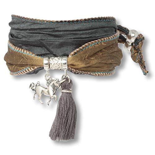 Anisch de la Cara Mujeres Pulsera Olive Night - Pulsera de Plata esterlina Boho Unicorn Hecha de Telas Saris Indias Silver Symbols - Arte no 90913-b