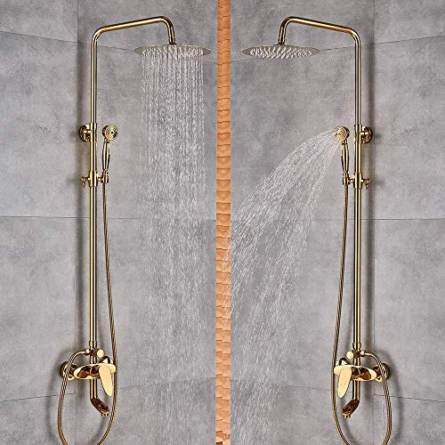 """ZCYXQR Shower System Luxury Golden Finish Dual Handle Switch Hot&Cold 8"""" Rain Showerhead Bath and Shower Faucet Set Mixer Tap W(Home Shower)"""