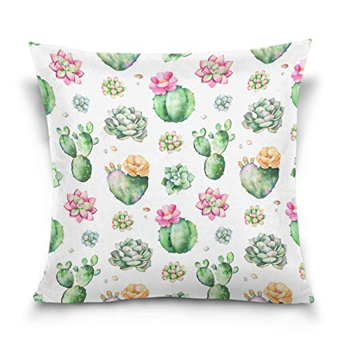 45x45cm Funda Throw Pillow Case Almohada Cojín AcuareCactus Planta Flor Verano Fundas colchón Cojines Decorativa Cuadrado sofá