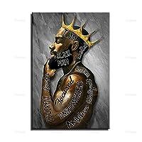 ブラックキングポスター、アフリカ系アメリカ人ポスター、ブラックマンポスター、史上最高のギフト、ブラックキングプリント、マンブラックポスターウォールアートキャンバス30x40cm(12x16in)