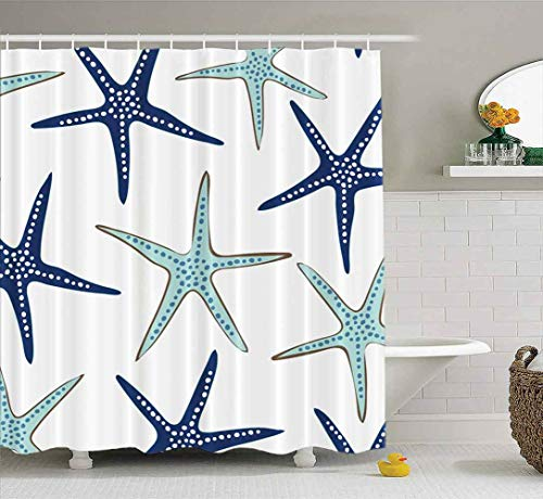 Shorping 72X72 Shower Curtain, Shower Curtain Kids Shower Curtain with Hooks Coastal Nautical Starfish Repeat Pattern Navy Blue Fall Shower Curtain Forest Shower Curtain Waterproof Decor Bathroom