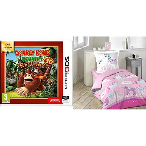 Donkey Kong Country Returns 3DS Game (Selects) & douceur d'intérieur 1641632 LICORNE Parure avec Taie d'oreiller Coton Multicolore 140 x 200 cm