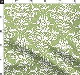 Damast, Grün, Kolonial, Weiß, Fleur De Lis, Blassgrün