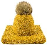 4sold Panti Set bufanda y sombrero con forro para mujer Niñas Invierno Alpaca lana Nylon punto Cap esquí snowboard punto cuello sombreros lana Pom Pom hecho en la UE
