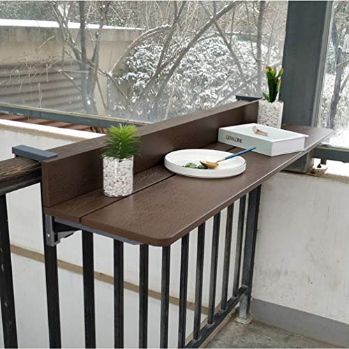 Klappbar Balkonhängetisch, Outdoor-Tisch, Höhenverstellbarer Klapptisch, Esstisch Aus Holz, Brown