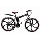26 Inch 21 Speed Folding Mountain Bike for Men & Women | Full Suspension MTB City Commuter Bike Road Bike Outroad Mountain Bike | Outdoor Cycling Outroad Commute for Adults Teens & Kids | Red