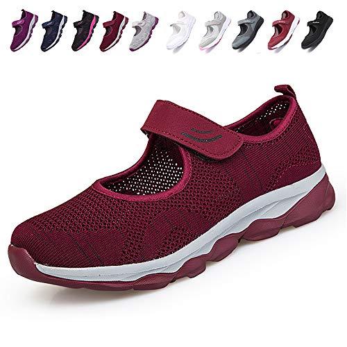 [JIAFO] 安全靴レディース スニーカー 介護シューズ 高齢者シューズ マジックテープ 通気性 柔軟性 軽量 メッシュ 中高齢者靴 ママシューズ 疲れにくい 滑り止めお母さん 婦人靴 看護師(22.5cm~26.0cm) (22.5cm, レッドA)