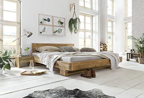 Woodkings® Holzbett 180x200 Mayfield Holz rustikal Schlafzimmer Möbel massiv Design Doppelbett Ehebett Balkenbett Echtholzmöbel (Rec. Pinie)