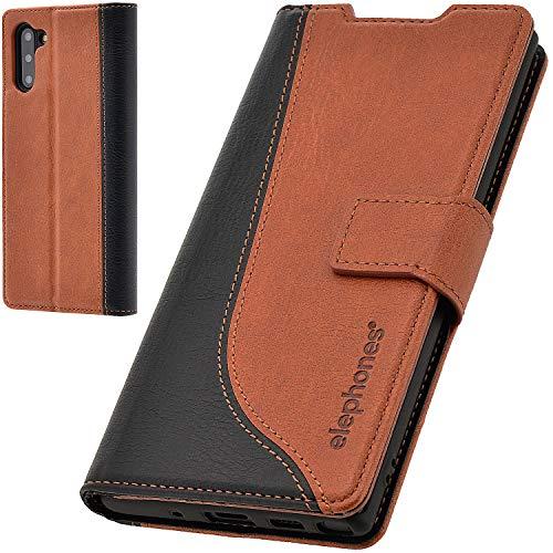 elephones® Handyhülle für Samsung Galaxy Note 10 Hülle - Kompatibel mit Galaxy Note 10 Schutzhülle Handy-Tasche Flip Hülle Cover Braun