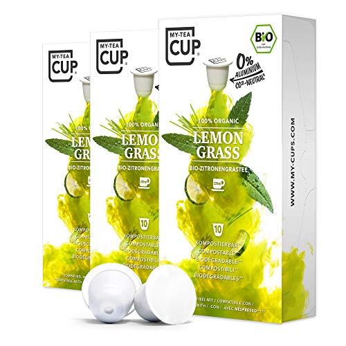 My-TeaCup - TEEKAPSELN LEMON GRASS 3 x 10 KAPSELN I BIO-Zitronengras-Tee (Kräutertee) I 30 Kapseln für Nespresso®*-Kapselmaschinen I 100% industriell kompostierbare & nachhaltige Teekapseln – 0% Alu