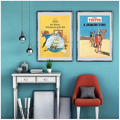 The Adventures of Tintin Canvas Painting Wall Pictures, Tintin Poster Wall Art Canvas Prints Kids Room Cartoon Decoration-50x70cmx2pcs -Sin marco