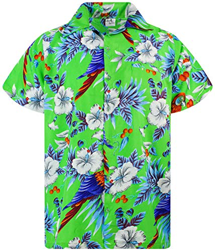 King Kameha Funky Hawaiihemd, Kurzarm, Cherryparrot New, Lemonengrün, XL