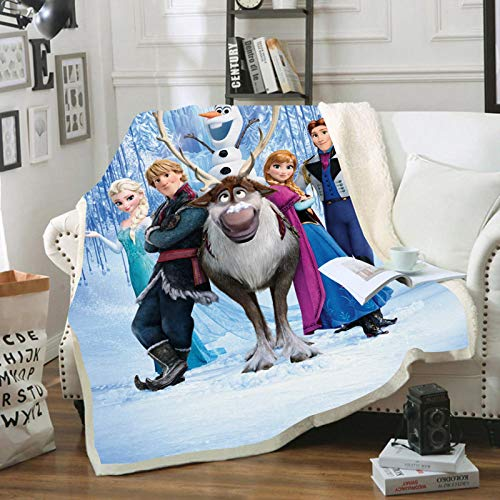 HGKY Disney Frozen Flanelldecke für Kinder, Anna Elsa und Olaf, warme Mikrofaser, superweiche Decke, perfekt für jedes Schlafzimmer (C, 100 x 140 cm)