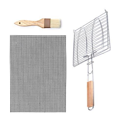 Yemiany Cestello per grigliare,spazzole per cinghiale,set di attrezzi per barbecue: cestello per grigliare per pesce barbecue portatile, tappetini in