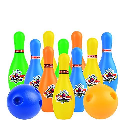 Bowling Spielzeug Erwachsene Kinder Jungen Und Mädchen Kleine Plastikspielzeug Bowling-Spiel Bowling Große Spielzimmer Mit 10 Pins Und Zwei Mini-Ball Spielzeug Geschenk Baby-Kinder Kinder Bowling Set