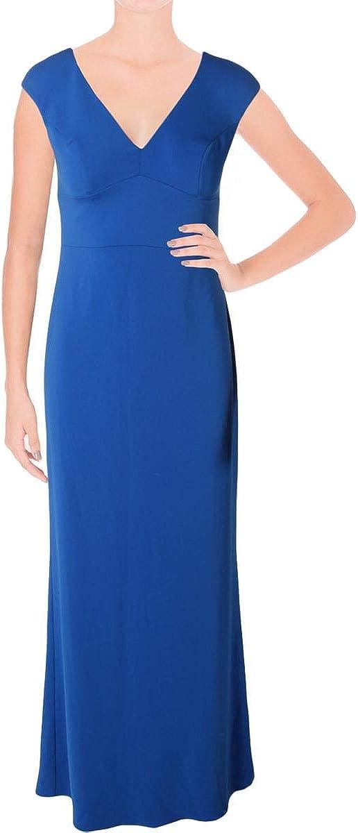 Ralph Lauren Womens Stretch Crepe Gown Dress, Blue, 2