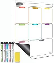Magnetic Calendar for Refrigerator Set. Weekly Dry Erase Fridge Calendar Whiteboard Meal Planner Menu Board - Thickened Magnet. with Fine Tip Marker & Eraser & Holes for Wall Hanging(Weekly Planner)