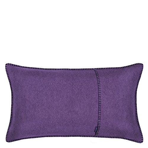 Soft-Fleece-Kissenbezug – Polarfleece mit Häkelstich – weiche, hochwertige Sofa-Kissenhülle –  30x50 cm – 490 aubergine – von 'zoeppritz since 1828'
