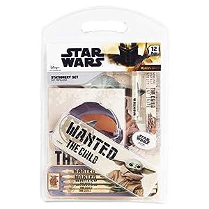 Star Wars Estuche Escolar con Baby Yoda, Kit Material Escolar El Mandaloriano, Lapices Colores, Bloc de Notas, Bolígrafo…
