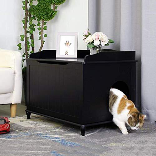Wle Cat Katzenschrank Katzentoilette, große, vollständig umschlossene Katzentoilette, Deodorant und spritzwassergeschütztes Fallendes Sandpedal Kitty Katzentoilette Jumbo,Schwarz