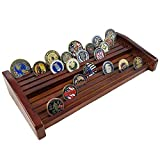DecoWoodo Challenge Coin Display 8 Rows Military Coin Holder Stand Rack Mahogany Finish