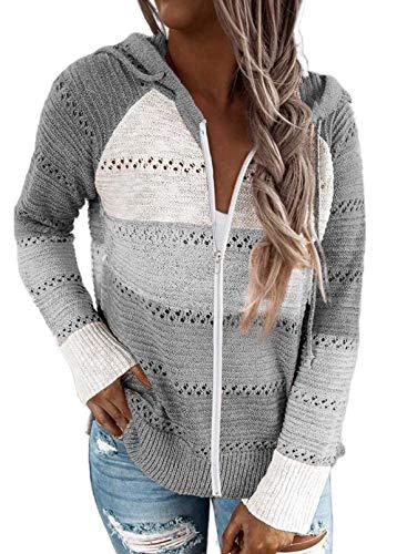 BLENCOT Sudadera Mujer con Capucha Mujer Cárdigan Mujer Sudaderas con Cremallera Mujer Sweatshirt Suéter Mujer Cardigan de Manga Larga Suéter con Capucha Chaqueta de Invierno Suéter Invierno Casual